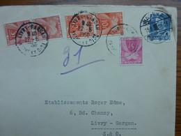 1950   5 Timbres TAXE Sur Lettre Venant Du Danemark - Covers & Documents