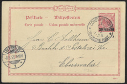 Deutsche Post In Der Türkei, Ganzsache P 3a, Constantinopel - Eberswalde - Ufficio: Turchia