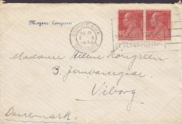France MOGENS LØNGREEN Flamme BORDEAUX Gironde 1930 'Petite' Mourning Cover Lettre VIBORG Denmark 2x Marcellin Timbres - Cartas