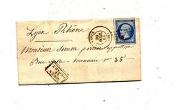 Lettre Cachet Losange Annecy Sur Napoleon + Apres Depart + Lyon - 1849-1876: Classic Period