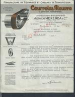 LETTRE COMMERCIALE ILLUSTRÉE DE 1954 ADRIEN MERENDA & CIE COURROIES PIEUVRE À MONTROUGE : - Cars