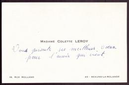 "Carte De Visite "" Leroy "" à Beaune-la-Rolande - Visitekaartjes"
