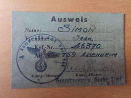 Ausweis Assenheim Stalag XII 12 Prisonnier Guerre Landesschützen Bataillon 434 Trier Limburg Frankenthal Pfalz Oflag STO - Documenti Storici