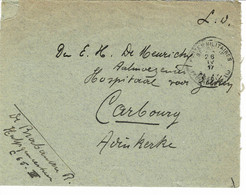 "BRIEFOMSLAG DD.26.IV.17 GERICHT AAN AALMOEZENIER E.DE MEURICKY,HOSPTAAL CABOURG IN ADINKERKE MET SLUITZEGEL ""SKVH""L - Militaria"