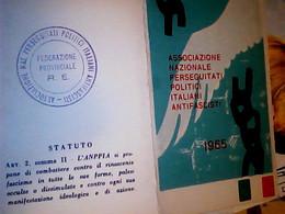 TESSERA ASSOCIAZIONE NAZIONALE PERSEGUITATI POLITICI ITALIANI ANTIFASCISTI 1965  BUONO STATO DI CONSERVAZIONE IF9746 - Documenti Storici