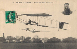 "H2109 - SPORTS - AVIATION - DICKSON Sur Biplan ""Farman"" - Aviadores"