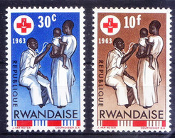 Rwanda 1963 MNH 2 Stamps, Doctor, Red Cross, Stethoscope, Medicine - Otros