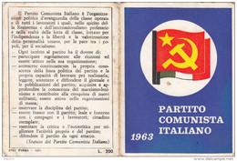 TESSERA PARTITO COMUNISTA 1963  BUONO STATO DI CONSERVAZIONE IF9751 - Documenti Storici