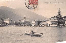 "013016 ""(VCO) OMEGNA - LAGO D'ORTA - PANORAMA"" ANIMATA, BARCA. CART SPED 1909 - Verbania"