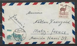 Lettre Du Pérou à Destination De La France 1954 - Peru