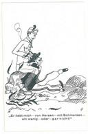 """Cpsm Signée H """" Er Liebt Mich - Von Herezn -  Mit Schmerzen ... ( Caricature )     ( S. 5822 ) - Autres Illustrateurs"""
