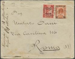 Somalia, Lettera Da Oddur A Roma Affrancata Con 20b. Su 15c. Su 2a.+ 20b. Su 50c Rosso N.51 - Somalia
