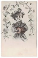 R. CAPUTI - Femme - Fleurs - Manchon - Autres Illustrateurs