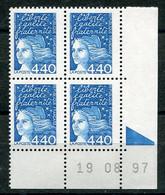 RC 21333 FRANCE N° 3095 COIN DATÉ MARIANNE DE LUQUET 19.08.97 A LA FACIALE NEUF ** TB MNH VF - 1990-1999