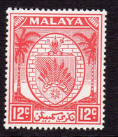 Malaya Negri Sembilan 1949-55 Coat Of Arms 12c Scarlet Definitive, MNH, SG 51 (MS) - Negri Sembilan