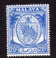 Malaya Negri Sembilan 1949-55 Coat Of Arms 20c Bright Blue Definitive, MNH, SG 54 (MS) - Negri Sembilan