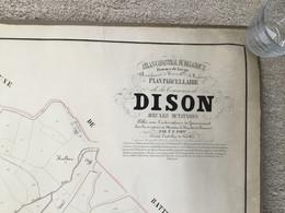 DISON - VERVIERS PLAN POPP CADASTRAL+/- 1860 - Avec La Précieuse Matrise Cadastrale « COMPLET 2 Plans» - Documenti Storici
