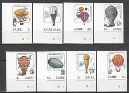 CC150 ONLY ONE IN STOCK IMPERFORATE ZAIRE TRANSPORT AVIATION BALLOONS ZEPPELINS 1SET MNH - Zeppelins