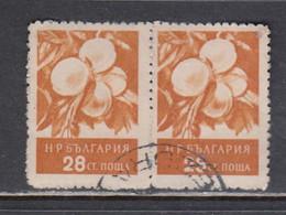 Bulgaria 1956 - Fruits, 28 St., Mi-Nr. 992 Paar, Rare Perforation 10 3/4, Used - Gebraucht