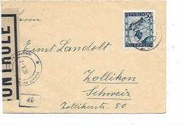 """SH 1064. N° Yv. 622  INNSBRÜCK 26.12.46 S/L. V. Zollikon (CH-. Bde CONTRÔLE + """"Ouvert Par..Autorité De Contrôle/IKA-I"""" - 1945-60 Cartas"""