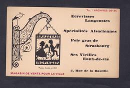 Carte Publicitaire Brasserie Bofinger Paris 4è La Bastille Enseigne Fer Forgé Hansi Specialités Alsaciennes Foie Gras - Cafés, Hotels, Restaurants