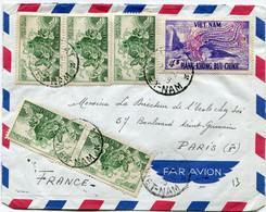 VIET-NAM LETTRE PAR AVION DEPART DALAT 24-4-1956 VIET-NAM POUR LA FRANCE - Vietnam