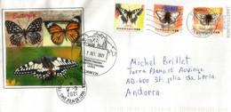 Butterflies / Papillons 2021 Lettre Danemark Adressée Andorra, Avec Timbres à Date Arrivée Des Deux Administrations Post - Brieven En Documenten
