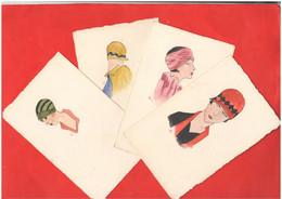 4 Cpa Donne Women Silhouette Profili Di Giovani Donne A China E Acquarello Cpa Anni 30 - Silhouette - Scissor-type