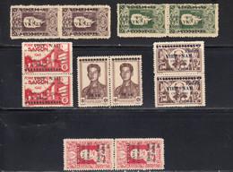 Vietnam Du Nord. 1946 Yvert 48 / 49 **, 51 / 52 **, 54 **, 57 ** , Neufs Sans Charniere. Par Paires - Vietnam