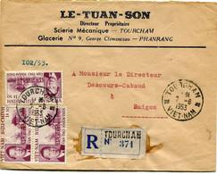 VIET-NAM LETTRE RECOMMANDEE DEPART TOURCHAM 7-6-1953 VIET-NAM POUR LE VIET-NAM - Vietnam