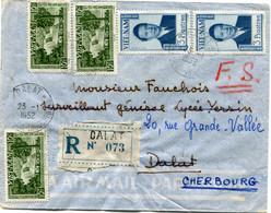 VIET-NAM LETTRE RECOMMANDEE PAR AVION DEPART DALAT 23-1-1952 PLATEAUX INDOCHINOIS POUR LA FRANCE - Vietnam
