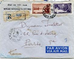 VIET-NAM LETTRE RECOMMANDEE PAR AVION AVEC AFFRANCHISSEMENT COMPL. AU DOS DEPART SAIGON 7-7-1955 VIET-NAM POUR LA FRANCE - Vietnam