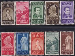 Regno D'Italia Uomini Illustri 1937 Serie Completa Sass. 426/435 MNH** Cv 150 - Neufs