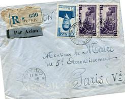 VIET-NAM LETTRE RECOMMANDEE PAR AVION DEPART MYTHO 2-5-1955 VIET-NAM POUR LA FRANCE - Vietnam
