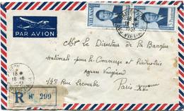 VIET-NAM LETTRE RECOMMANDEE PAR AVION DEPART SAIGON 18-6-1951 SUD VIET-NAM POUR LA FRANCE - Vietnam