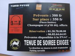 TICKET ENTRÉE PASS INVITATION 31 DÉCEMBRE 1998 SOIRÉE HOLLYWOOD SPONSORS VIDEO-FUTUR FNAC CINEFIL MARYLIN MONROE - Tickets - Vouchers