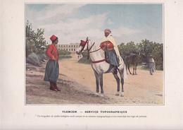 Beau Document Coul. Début XXe Siècle Recto-verso Algérie Spahis Tlemcen Service Topographique Peloton - Altri