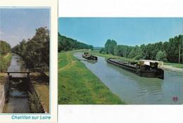 45 CPA CHATILLON SUR LOIRE LOT DE 2 CARTES LE CANAL ECLUSE DE LA FOLIE  ET SES PENICHES - Chatillon Sur Loire