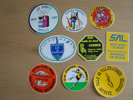 LOT DE 9 AUTOCOLLANTS MONTARGIS VILLEMENADEUR BAR COSMOS POMPIERS CEPOY FOOT J3 SPORTS - Stickers