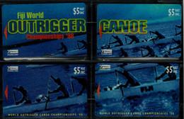 FIJI 1998 PHONECARDS  WORLD OUTRIGGER CANOE CHAMPIONSHIPS 98 PAZEL SET OF 4 CARDS MINT VF!! - Sport