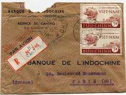 VIET-NAM LETTRE RECOMMANDEE PAR AVION A ENTETE DE LA BANQUE DE L'INDOCHINE AVEC AFFR COMPL AU DOS DEPART CANTHO 11-1-54 - Vietnam