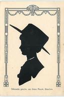 N°18463 - Silhouette Geschn. Von Anton Plocek. Glauchau - Profil D'une Jeune Femme Portant Un Chapeau - Silhouette - Scissor-type
