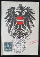 Österreich 1945, Gedenkblatt EXPORT-MUSTERSCHAU - 1.Sonderstempel Im Neuen Österreich - 1945-60 Cartas