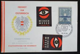 Österreich 1956, Postkarte Mi 1030 WIEN MESSE Sonderstempel Vignette - 1945-60 Cartas