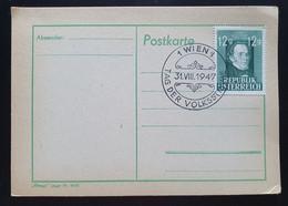 Österreich 1947, Postkarte Mi 801 TAG DER VOLKSSTIMME WIEN - 1945-60 Cartas