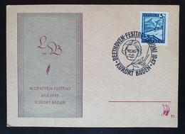 Österreich 1947, Sonder Postkarte BEETHOVEN FESTTAG BADEN Sonderstempel - 1945-60 Cartas