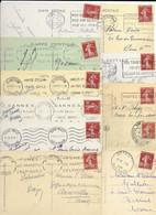 LOT DE 100 CARTES AVEC TIMBRE SEMEUSE CAMEE 30c ROUGE BRIQUE. - 1906-38 Semeuse Con Cameo