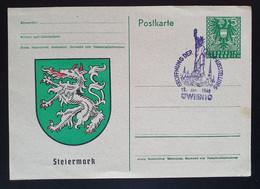 Österreich 1946, Steiermark Postkarte USA - AUSSTELLUNG Sonderstempel - 1945-60 Cartas