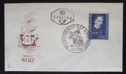 """Österreich 1953, FDC Michel 981 """"Hugo Wolf"""" - 1945-60 Cartas"""