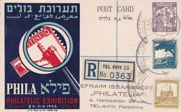 PHILA PHILATELIC EXHIBITION TEL AVIV 8-11.4.1945. PALESTINE ENTIER CARTE POSTALE, AVANT L'INDÉPENDANCE D'ISRAELL.- LILHU - Palestina